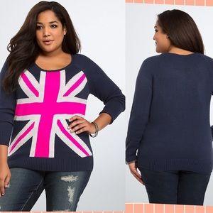 🇬🇧 Torrid Union Jack Sweater Navy Pink Sz L 🇬🇧